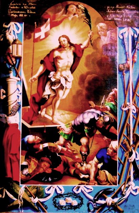Воскресiння Христа з атрибутами страстей, 1847 р. с. Слобода Рiвнянс ка Рожнятiвс кого району